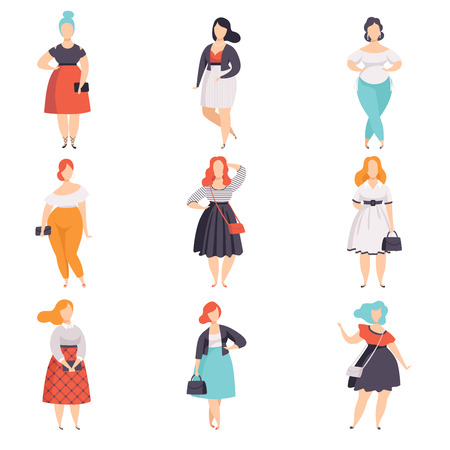 Illustrazione per Beautiful plus size women in fashionable clothes set, curvy, overweigh girl pinup model vector Illustrations on a white background - Immagini Royalty Free