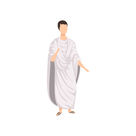 Illustration pour Roman citizen, man in traditional clothes of Ancient Rome vector Illustration on a white background - image libre de droit