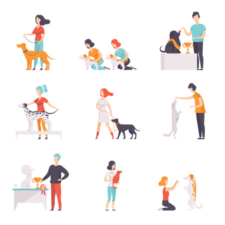Illustrazione per Owners presenting their purebred dogs at pet how exhibition set vector Illustrations on a white background - Immagini Royalty Free