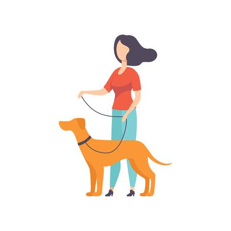 Ilustración de Owner keeping dog on the leash at show exhibition vector Illustration on a white background - Imagen libre de derechos