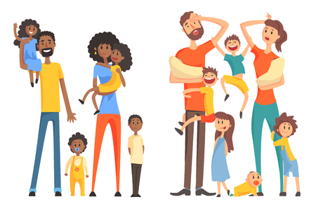 Ilustración de Young Afro-American and caucasian family. Cheerful and tired parents with children. Funny little kids and newborns. Flat vector design - Imagen libre de derechos