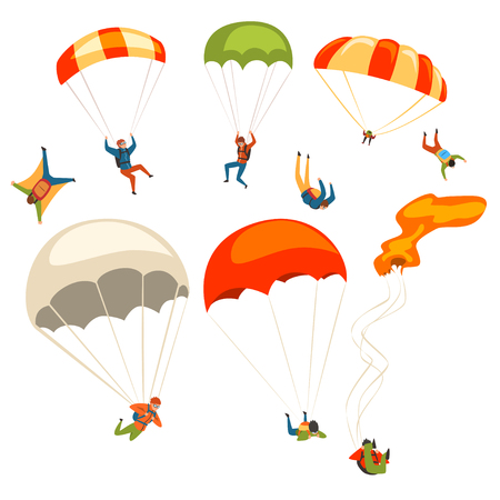 Illustration pour Skydivers flying with parachutes set, extreme parachuting sport and skydiving concept vector Illustrations on a white background - image libre de droit