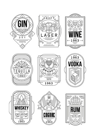 Illustration for Alcohol labels set, gin, lager, wine, tequila, brandy, vodka, whiskey, cognac, rum retro alcohol industry monochrome emblem vector Illustration on a white background - Royalty Free Image