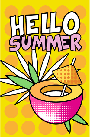 Illustration pour Hello Summer banner, bright retro pop art style poster with tropical cocktail vector Illustration, web design - image libre de droit