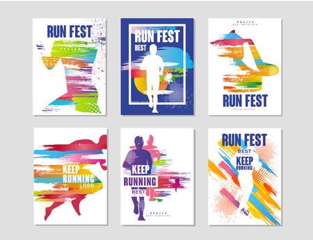Ilustración de Run fest posters set, sport and competition concept, running marathon, colorful design element for card, banner, print, badge vector Illustrations - Imagen libre de derechos