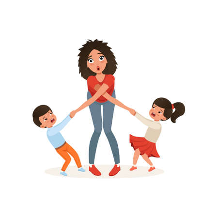 Ilustración de Tired mother with her capricious children, parenting stress, relationship between children and parents concept vector Illustration isolated on a white background. - Imagen libre de derechos