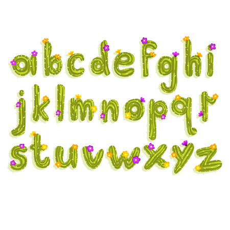 Ilustración de Creative Latin alphabet made of bright green cactus with small blooming flowers. Set of English letters from A to Z. ABC concept. Colorful flat vector font for poster, greeting card or children print. - Imagen libre de derechos