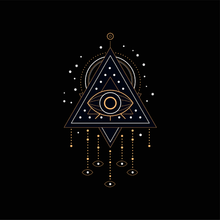 Ilustración de Dream catcher, traditional American Indian dream trap vector Illustration isolated on a black background. - Imagen libre de derechos