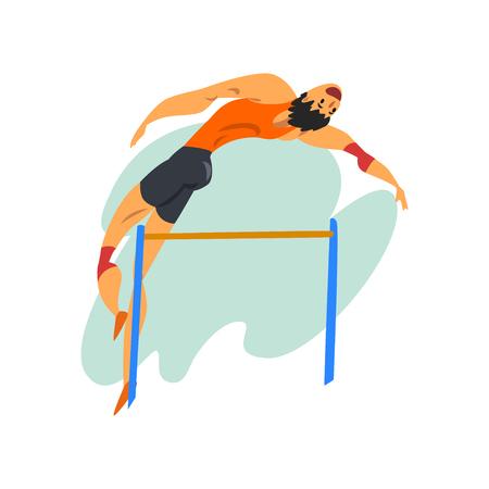 Ilustración de Athlete high jump man, professional sportsman at sporting championship athletics competition vector Illustration on a white background - Imagen libre de derechos