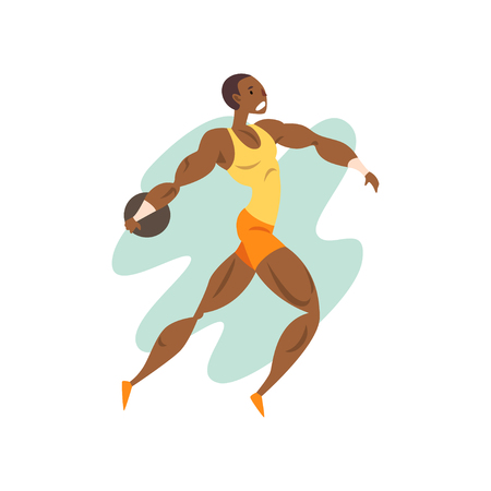 Ilustración de Muscular athlete man throwing a kernel, professional sportsman at sporting championship athletics competition vector Illustration on a white background - Imagen libre de derechos
