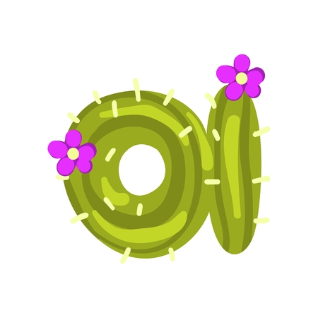 Photo pour A letter in the form of cactus with purple blooming flowers, green eco English letter vector Illustration isolated on a white background. - image libre de droit