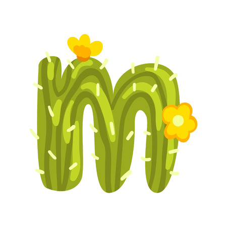 Illustration for M letter in the form of cactus with blooming flowers, green eco English letter vector Illustration isolated on a white background. - Royalty Free Image