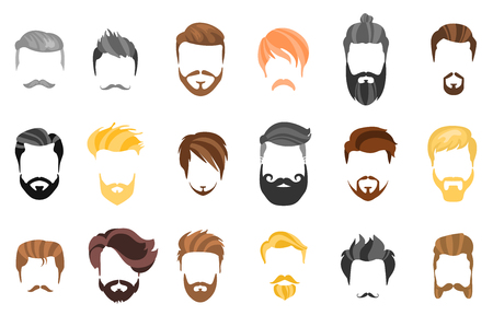 Illustrazione per Hair, beard and face, hair, mask cutout cartoon flat collection. Vector men's hairstyle, illustration, beard and hair. Hairstyles icons isolated hairstyles - Immagini Royalty Free