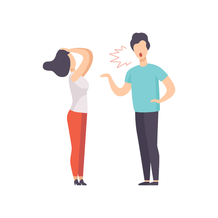 Ilustración de Angry man screaming at young woman, couple quarreling, family conflict, disagreement in relationship vector Illustration isolated on a white background. - Imagen libre de derechos