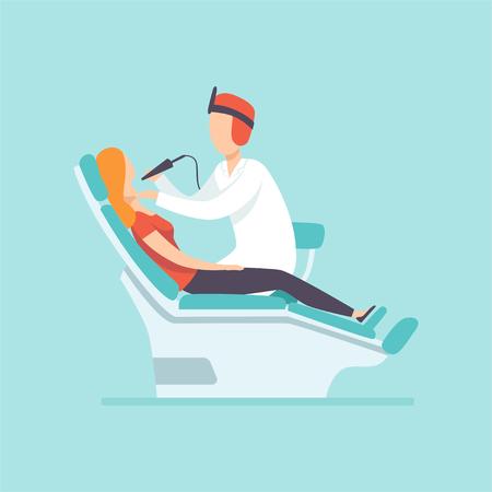 Ilustración de Male dentist examining female patient at dental clinic , medical treatment and healthcare concept vector Illustration in cartoon style - Imagen libre de derechos