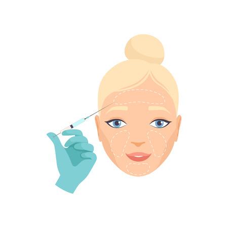 Ilustración de Girl having hyaluronic acid facial injection, rejuvenating procedure vector Illustration - Imagen libre de derechos