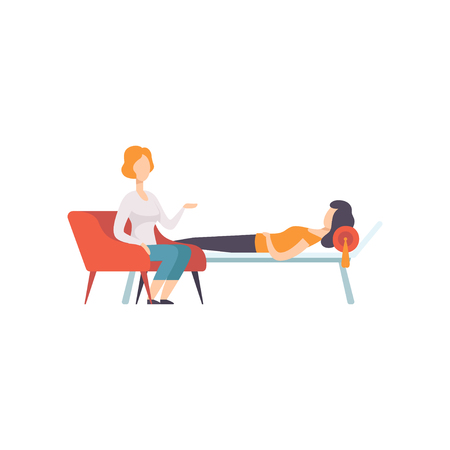 Illustration pour Female patient lying on sofa and talking about problems with psychotherapist, medical rehabilitation, physical therapy activity vector Illustration - image libre de droit