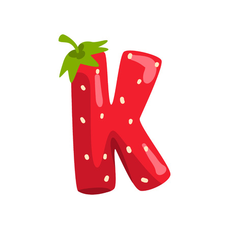 Ilustración de Letter K of English alphabet made from ripe fresh srawberry, bright red berry font vector Illustration isolated on a white background. - Imagen libre de derechos