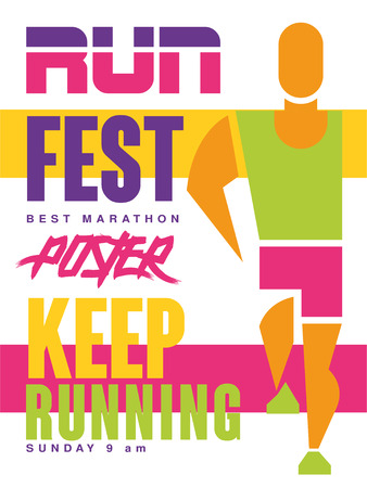Run fest, keep running colorful poster, template for sport event, championship, tournament, can be used for card, banner, print, leaflet vector Illustration