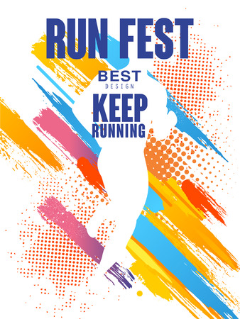 Run fest best design, keep running, colorful poster template for sport event, marathon, championship, can be used for card, banner, print, leaflet vector Illustration