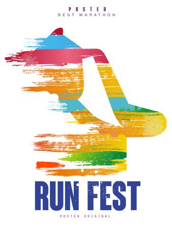Ilustración de Run fest poster template for sport event, marathon, championship, can be used for card, banner, print, leaflet vector Illustration - Imagen libre de derechos