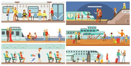 Ilustración de People in public transport set, passengers of the underground, airplane, cruise ship vector Illustrations - Imagen libre de derechos