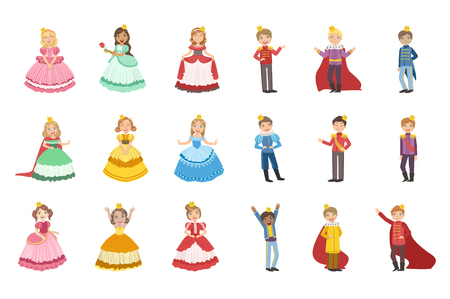 Illustrazione per Little Girls Dressed and Little Boys Dressed As Fairy Tale Princes - Immagini Royalty Free