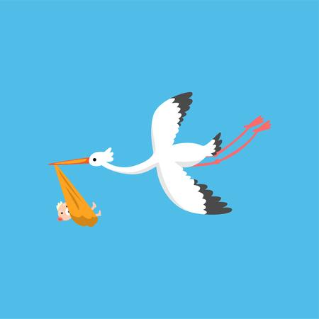 Ilustración de Stork delivering cute newborn baby, flying bird carrying a bundle, template for baby shower banner, invitation, poster, greeting card vector Illustration in flat style - Imagen libre de derechos