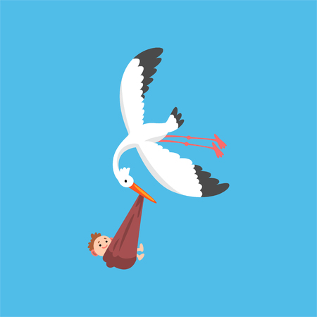 Illustration pour White stork delivering a newborn baby, flying bird carrying a bundle with smiling kid, template for baby shower banner, invitation, poster, greeting card vector Illustration in flat style - image libre de droit