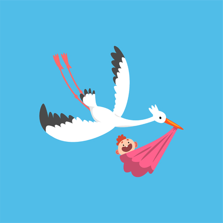 Illustration pour White stork delivering a newborn baby, flying bird carrying a bundle with baby girl, template for baby shower banner, invitation, poster, greeting card vector Illustration in flat style - image libre de droit
