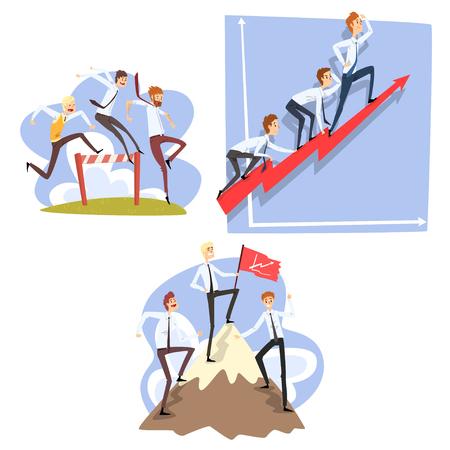Ilustración de Businessmen overcoming obstacles to achieving the goals, teamwork, business, career development concept vector Illustration isolated on a white background. - Imagen libre de derechos