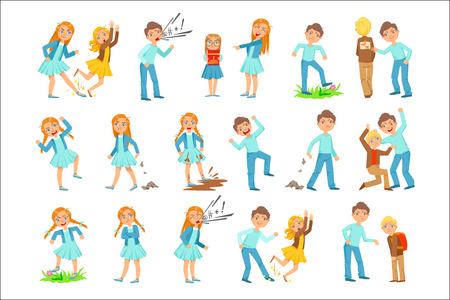 Illustrazione per Older Girl and Boy Bullying Young Children And Behaving Badly Set. Bright Color Isolated Vector Drawings In Simple Cartoon Design On White Background - Immagini Royalty Free