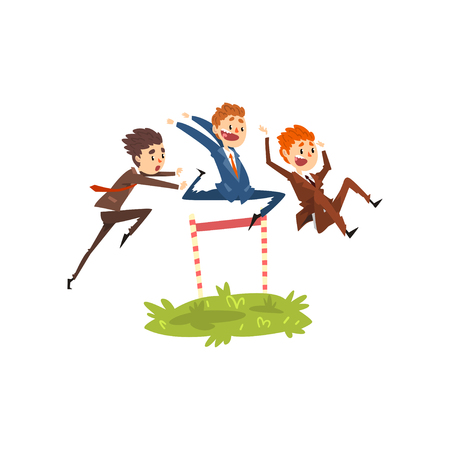 Ilustración de Businessmen jumping over hurdles, competition in achieving the goal, business, career development concept vector Illustration isolated on a white background. - Imagen libre de derechos