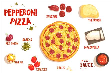Illustration pour Pizza sign in form piece of peperoni. Vector illustration - image libre de droit