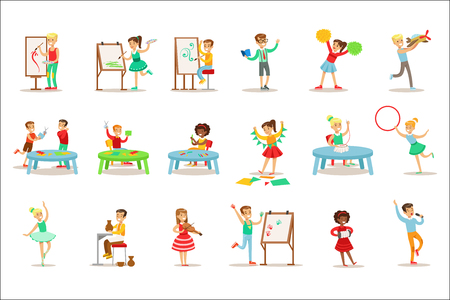 Ilustración de Creative Children Practicing Different Arts And Crafts In Art Class And By Themselves Set Of Kids And Creativity Themed Illustrations. Flat Cartoon Vector Drawings With Scholars Demonstrating Pottery, Dance, Singing, Painting And Other Creative Skills - Imagen libre de derechos