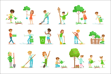 Ilustración de Children Helping In Eco-Friendly Gardening, Planting Trees, Cleaning Up Outdoors, Recycling The Garbage And Watering Sprouts. Happy Kids Interacting With Nature And Participating In Garden Clean-up Procedures Set Of Vector Illustrations. - Imagen libre de derechos