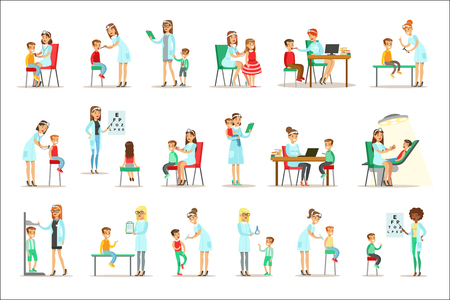 Illustration pour Kids On Medical Check-Up With Female Pediatrician Doctors Doing Physical Examination For The Pre-School Health Inspection. Young Shildren On Medical Appointment Checking General Physical Condition Set Of Illustrations. - image libre de droit