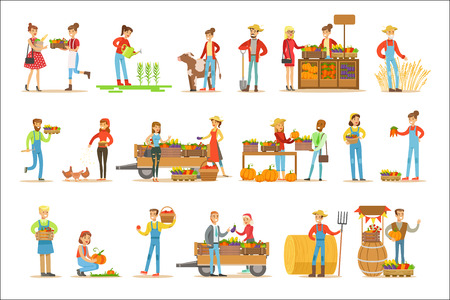 Ilustración de Farmers Men And Women Working At The Farm And Selling Fresh Farming Vegetables On Natural Organic Product Market. Set Of Cartoon Happpy Characters Growing Crops And Animals For Food Vector Illustrations. - Imagen libre de derechos