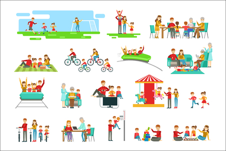 Illustrazione per Happy Family Having Good Time Together Set Of Illustrations. Bright Color Simplified Cartoon Style Cute Family Scenes On White Background. - Immagini Royalty Free