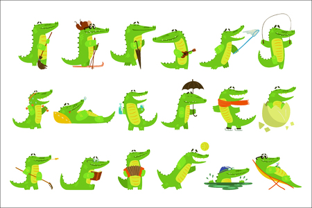 Illustration pour Humanized Crocodile Character Every Day Activities Set Of Illustrations. Flat Bright Color Isolated Funny Alligators In Different Situations On White Background, - image libre de droit