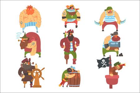 Illustrazione per Scruffy Pirates Cartoon Characters Set - Immagini Royalty Free