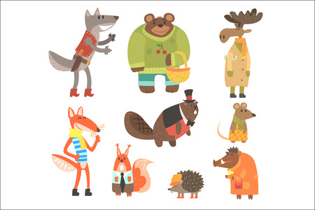 Illustration pour Forest Animals Dressed In Human Clothes Set Of Illustrations. Cool Cute Cartoon Animal Characters Flat Vector Drawings In Childish Creative Style. - image libre de droit