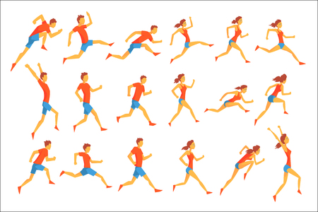 Ilustración de Male Sportsman Running The Track With Obstacles And Hurdles In Red Top Blue Short In Racing Competition Set Of Illustrations. - Imagen libre de derechos