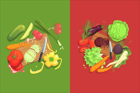 Illustration for Still Life With Cooking Ingredients For Fresh Vegetarian Salad With Raw And Fresh Vegetables Places Around Cutting Board Illustration. Beetroot, Cabbage, Carrot, Eggplant And Other Products Of Healthy Vegan Diet. - Royalty Free Image