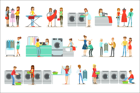 Illustration for People At The Laundry, Dry Cleaning And Tailoring Service Set Of Smiling Cartoon Characters. Men And Woman Washing Their Clothes In Washing Machines And Using Designer Help Vector Illustrations. - Royalty Free Image