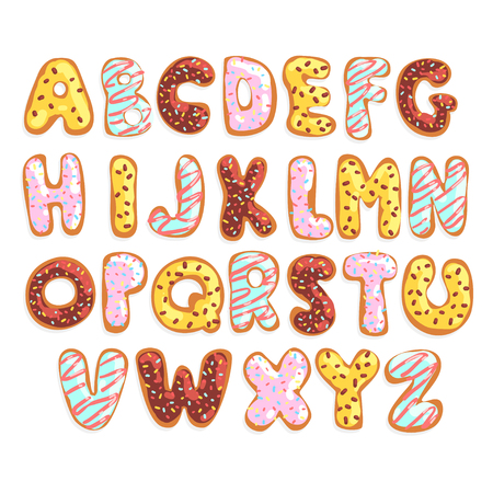 Ilustración de Sweet cookie English alphabet, edible bakery letters in the shape of glazed cookies vector Illustration isolated on a white background. - Imagen libre de derechos