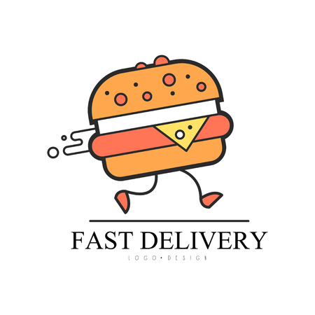 Illustration pour Fast delivery  design, food service delivery, creative template with running burger for corporate identity, fast food restaurant or cafe vector Illustration on a white background - image libre de droit