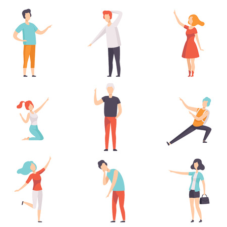 Illustrazione per People pointing their finger in different directions set, faceless men and women characters gesturing vector Illustrations isolated on a white background. - Immagini Royalty Free