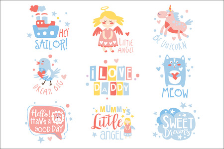 Ilustración de Baby Nursery Room Print Design Templates Set In Cute Girly Manner With Text Messages. Vector Labels With Quotes Series Of Childish Posters For Toddler. - Imagen libre de derechos