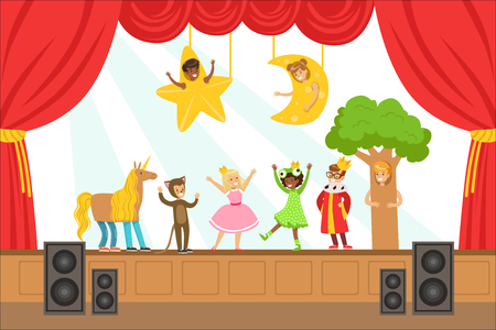 Illustration for Children Actors Performing Fairy-Tale On Stage On Talent Show Colorful Vector Illustration With Talented Schoolkids Theatre Performance. Happy Kids Showing Their Artistic Talents In Show - Royalty Free Image